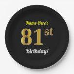 [ Thumbnail: Black, Faux Gold 81st Birthday + Custom Name Paper Plate ]