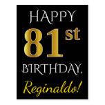 [ Thumbnail: Black, Faux Gold 81st Birthday + Custom Name Postcard ]