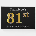 [ Thumbnail: Black, Faux Gold 81st Birthday Party + Custom Name Guest Book ]