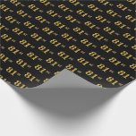 [ Thumbnail: Black, Faux Gold 81st (Eighty-First) Event Wrapping Paper ]