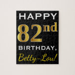 [ Thumbnail: Black, Faux Gold 82nd Birthday + Custom Name Jigsaw Puzzle ]