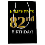 [ Thumbnail: Black, Faux Gold 82nd Birthday + Custom Name Gift Bag ]