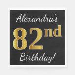 [ Thumbnail: Black, Faux Gold 82nd Birthday + Custom Name Paper Napkin ]