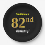 [ Thumbnail: Black, Faux Gold 82nd Birthday + Custom Name Paper Plate ]