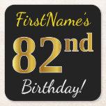 [ Thumbnail: Black, Faux Gold 82nd Birthday + Custom Name Paper Coaster ]