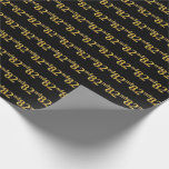 [ Thumbnail: Black, Faux Gold 82nd (Eighty-Second) Event Wrapping Paper ]
