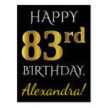 [ Thumbnail: Black, Faux Gold 83rd Birthday + Custom Name Postcard ]