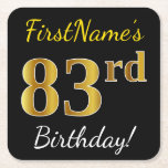 [ Thumbnail: Black, Faux Gold 83rd Birthday + Custom Name Paper Coaster ]