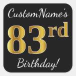 [ Thumbnail: Black, Faux Gold 83rd Birthday + Custom Name Sticker ]
