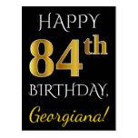 [ Thumbnail: Black, Faux Gold 84th Birthday + Custom Name Postcard ]