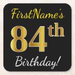 [ Thumbnail: Black, Faux Gold 84th Birthday + Custom Name Paper Coaster ]