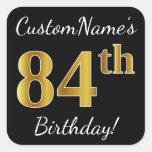 [ Thumbnail: Black, Faux Gold 84th Birthday + Custom Name Sticker ]