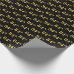[ Thumbnail: Black, Faux Gold 84th (Eighty-Fourth) Event Wrapping Paper ]