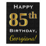 [ Thumbnail: Black, Faux Gold 85th Birthday + Custom Name Jigsaw Puzzle ]