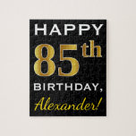 [ Thumbnail: Black, Faux Gold 85th Birthday + Custom Name Jigsaw Puzzle ]