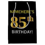 [ Thumbnail: Black, Faux Gold 85th Birthday + Custom Name Gift Bag ]