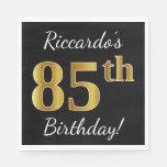 [ Thumbnail: Black, Faux Gold 85th Birthday + Custom Name Paper Napkin ]