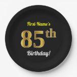 [ Thumbnail: Black, Faux Gold 85th Birthday + Custom Name Paper Plate ]