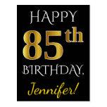 [ Thumbnail: Black, Faux Gold 85th Birthday + Custom Name Postcard ]