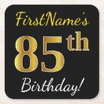 [ Thumbnail: Black, Faux Gold 85th Birthday + Custom Name Paper Coaster ]
