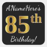 [ Thumbnail: Black, Faux Gold 85th Birthday + Custom Name Sticker ]