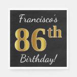 [ Thumbnail: Black, Faux Gold 86th Birthday + Custom Name Napkin ]
