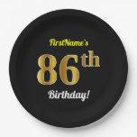 [ Thumbnail: Black, Faux Gold 86th Birthday + Custom Name Paper Plate ]