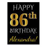 [ Thumbnail: Black, Faux Gold 86th Birthday + Custom Name Postcard ]