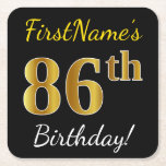 [ Thumbnail: Black, Faux Gold 86th Birthday + Custom Name Paper Coaster ]