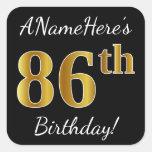 [ Thumbnail: Black, Faux Gold 86th Birthday + Custom Name Sticker ]