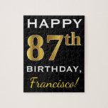 [ Thumbnail: Black, Faux Gold 87th Birthday + Custom Name Jigsaw Puzzle ]