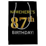 [ Thumbnail: Black, Faux Gold 87th Birthday + Custom Name Gift Bag ]