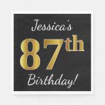 [ Thumbnail: Black, Faux Gold 87th Birthday + Custom Name Paper Napkin ]
