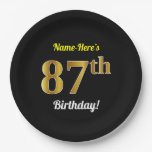 [ Thumbnail: Black, Faux Gold 87th Birthday + Custom Name Paper Plate ]