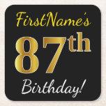 [ Thumbnail: Black, Faux Gold 87th Birthday + Custom Name Paper Coaster ]
