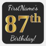 [ Thumbnail: Black, Faux Gold 87th Birthday + Custom Name Sticker ]
