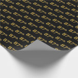 [ Thumbnail: Black, Faux Gold 87th (Eighty-Seventh) Event Wrapping Paper ]