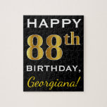 [ Thumbnail: Black, Faux Gold 88th Birthday + Custom Name Jigsaw Puzzle ]
