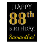 [ Thumbnail: Black, Faux Gold 88th Birthday + Custom Name Postcard ]