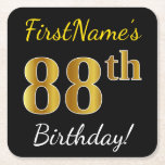 [ Thumbnail: Black, Faux Gold 88th Birthday + Custom Name Paper Coaster ]