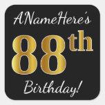 [ Thumbnail: Black, Faux Gold 88th Birthday + Custom Name Sticker ]