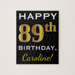 [ Thumbnail: Black, Faux Gold 89th Birthday + Custom Name Jigsaw Puzzle ]