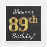 [ Thumbnail: Black, Faux Gold 89th Birthday + Custom Name Paper Napkin ]