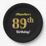 [ Thumbnail: Black, Faux Gold 89th Birthday + Custom Name Paper Plate ]