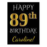 [ Thumbnail: Black, Faux Gold 89th Birthday + Custom Name Postcard ]