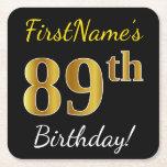 [ Thumbnail: Black, Faux Gold 89th Birthday + Custom Name Paper Coaster ]