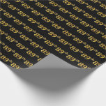 [ Thumbnail: Black, Faux Gold 89th (Eighty-Ninth) Event Wrapping Paper ]