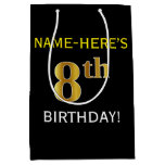 [ Thumbnail: Black, Faux Gold 8th Birthday + Custom Name Gift Bag ]