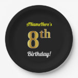 [ Thumbnail: Black, Faux Gold 8th Birthday + Custom Name Paper Plate ]