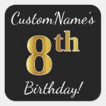 [ Thumbnail: Black, Faux Gold 8th Birthday + Custom Name Sticker ]